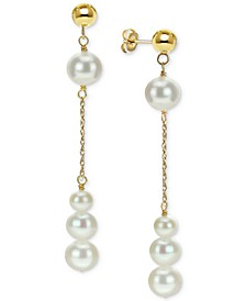 Cultured Freshwater Pearl Dangle Drop Earrings (4-8mm) in 14k Gold
