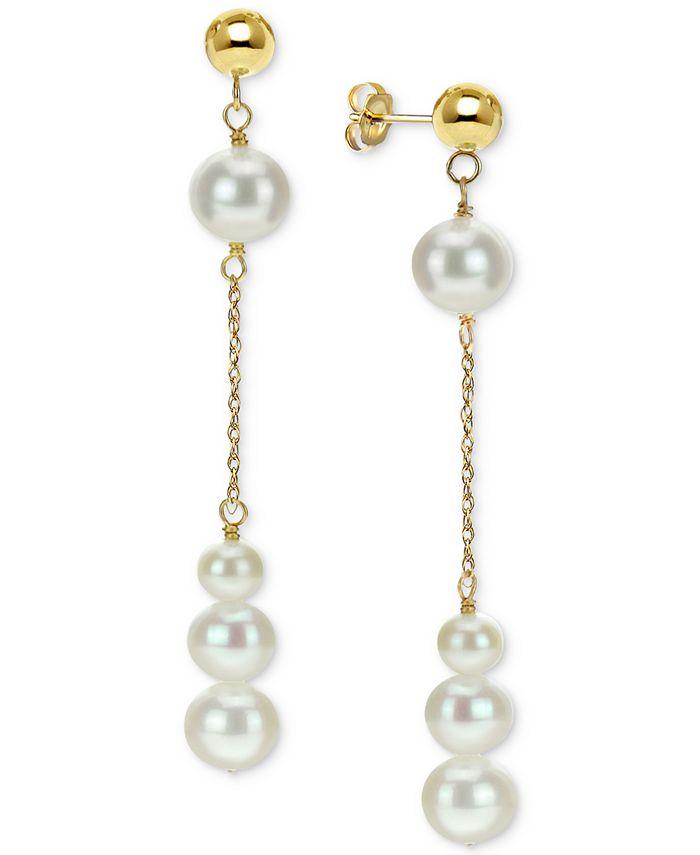 Macy's - Cultured Freshwater Pearl Dangle Drop Earrings (4-8mm) in 14k Gold