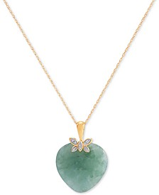 "Jade (19mm) & Diamond Accent Heart 18"" Pendant Necklace in 10k Gold"