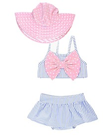 RuffleButts Toddler Girl's Skirted 2-Piece Bikini Swimsuit with Bow Swim Hat Set