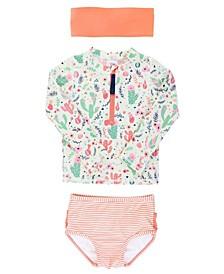Big Girl's Long Sleeve 2-Piece Rash Guard Bikini with Zipper Swim Headband Set