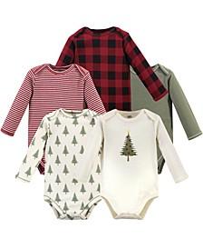 Baby Boy and Girl Organic Long Sleeve Bodysuit, 5 Pack
