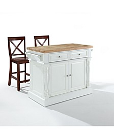 """Oxford Butcher Block Top Kitchen Island Finish With 24"""" Black X-Back Stools"""