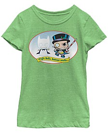 DC Comic's Big Girl's Joker Jingle Bells, Batman Smells Short Sleeve T-Shirt