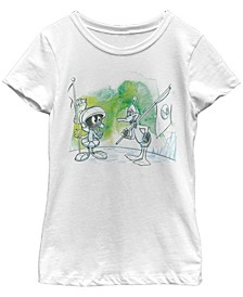 Looney Toons Big Girl's Marvin the Martian And Daffy Duck Short Sleeve T-Shirt