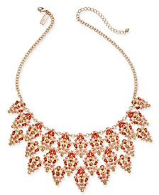 "INC Rose Gold-Tone Multi-Crystal Triple-Row Statement Necklace, 16"" + 3"" extender, Created For Macy's"