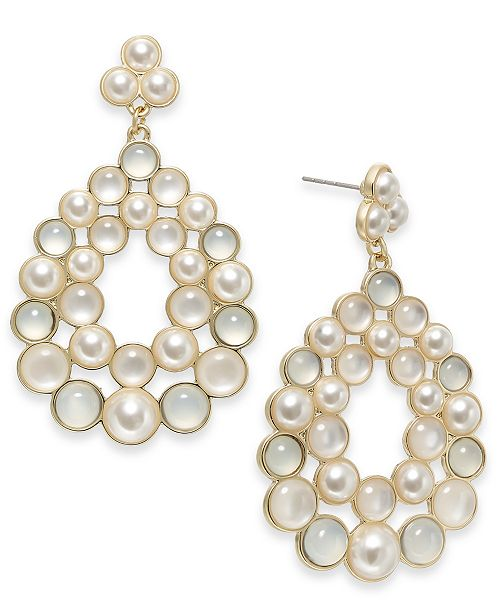 INC International Concepts INC Gold-Tone Imitation Pearl Cluster Drop Earrings, Created For Macy's