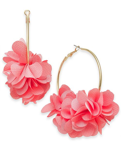 INC International Concepts INC Gold-Tone Fabric Flower Hoop Earrings, Created For Macy's