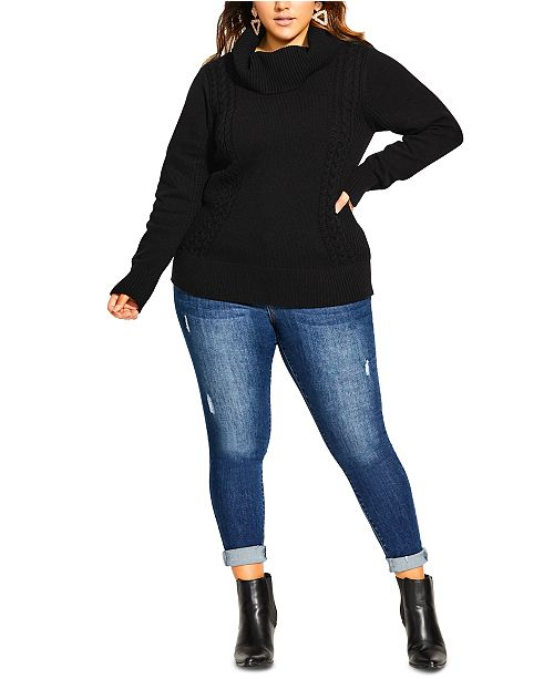 City Chic Trendy Plus Size Cowlneck Sweater