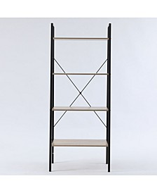 "Wood And Metal 58"" Height Ladder Shelf 4-Tier Etagere"