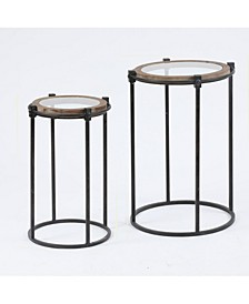 2-Piece Metal And Glass Round Accent Table