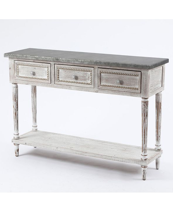 Luxen Home Wood And Metal Farmhouse Distressed Console Table