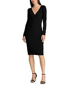 Jersey Lace-Sleeve Dress