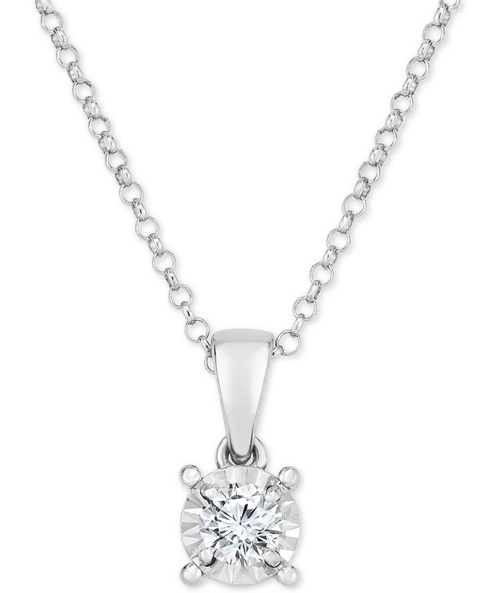 """Macy's - Diamond Solitaire 18"""" Pendant Necklace (1/6 ct. t.w.) in 14k White Gold"""