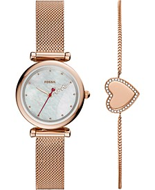Women's Mini Carlie Rose Gold-Tone Stainless Steel Mesh Bracelet Watch 28mm Gift Set