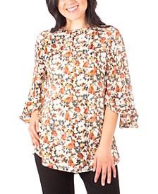 Petite Floral-Print Ruffle-Sleeve Top