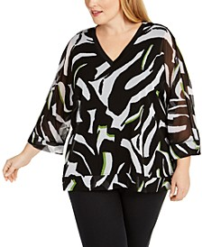 Plus Size V-Neck Printed Top, Created for Macy's
