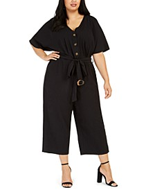 Plus Size Belted Gauze Jumpsuit