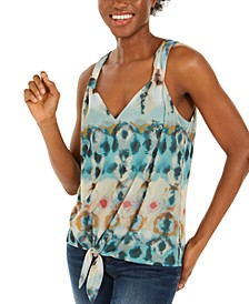 INC Printed Tie-Front Tank Top, Created For Macy's