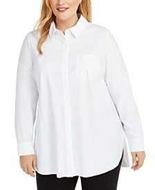 Plus Size Long-Sleeve Knit Button-Front Top, Created for Macy's
