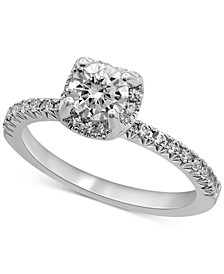 Certified Diamond Halo Engagement Ring (1 ct. t.w.) in 14k White Gold