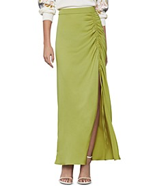 Ruched Satin Skirt