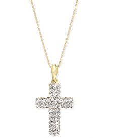 "Diamond Cross 18"" Pendant Necklace (1/4 ct. t.w.) in 14k Gold"