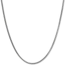 "Rounded Box Link 18"" Chain Necklace in Sterling Silver"