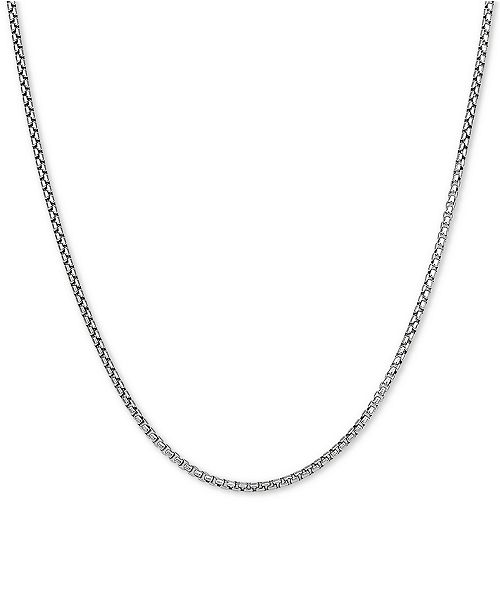 "Macy's Rounded Box Link 18"" Chain Necklace in Sterling Silver"