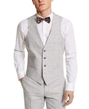1920s Style Mens Vests Bar Iii Mens Slim-Fit Gray Plaid Linen Suit Separate Vest Created For Macys $15.00 AT vintagedancer.com