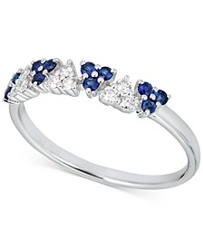 Sapphire (1/2 ct. t.w.) & Diamond (1/8 ct. t.w.) Statement Ring in 14k White Gold