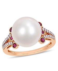 Freshwater Cultured Pearl (11-12mm), Ruby (1/5 ct. t.w.) and Diamond (1/7 ct. t.w.) Split Shank Ring in 10k Rose Gold