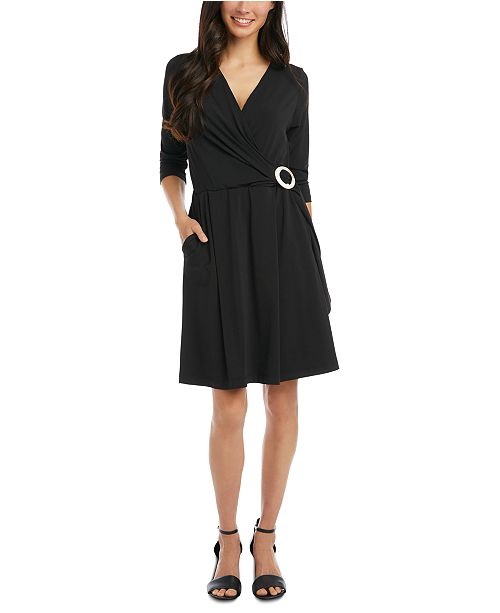 Karen Kane Buckled Faux-Wrap Dress