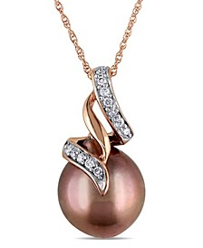 "Tahitian Cultured Pearl (9.5-10mm) and Diamond (1/10 ct. t.w.) Swirl 17"" Necklace in 10k Rose Gold"