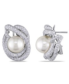 South Sea Cultured Pearl (11.5-12mm) and Diamond (4 1/3 ct. t.w.) Swirl Halo Stud Earrings in 18k White Gold