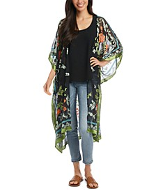 Textured Floral-Print Kimono Duster