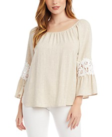 Lace-Inset Peasant Top
