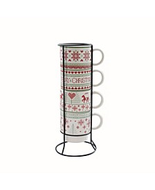 Merry Christmas 5 Piece Mug Set w/ Metal Rack