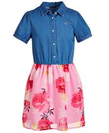 Big Girls Denim & Floral Dress