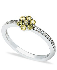 Yellow Sapphire (1/3 ct. t.w.) Diamond (1/20 ct t.w.)  Stackable ring  in Sterling Silver
