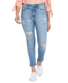 Juniors' Ripped Cropped Straight-Leg Jeans