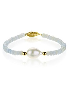 """Baroque Freshwater Cultured Pearl (10-11mm) with Blue Lace Agate (4-5mm) 7 1/4"""" Bracelet in 14k Yellow Gold"""