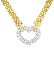 "Cubic Zirconia Heart 18"" Pendant Necklace in Sterling Silver & 18k Gold-Plate"