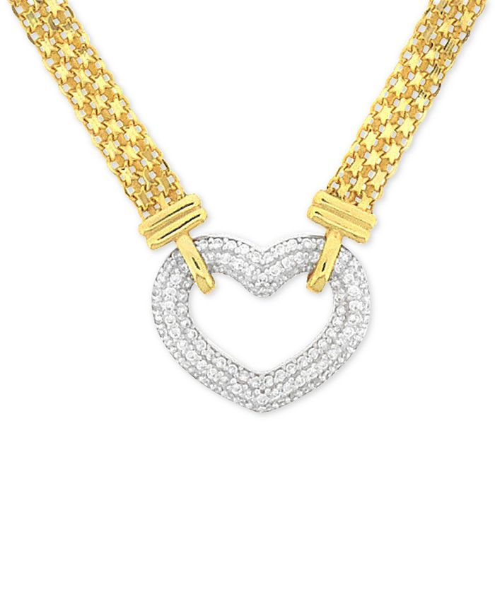 """Macy's - Cubic Zirconia Heart 18"""" Pendant Necklace in Sterling Silver & 18k Gold-Plate"""