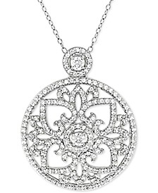 "Cubic Zirconia Antique-Look Medallion 18"" Pendant Necklace in Sterling Silver"