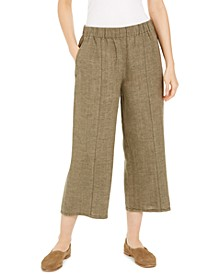 Organic Linen Wide-Leg Cropped Pants
