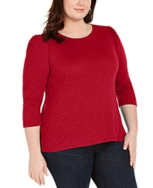 INC Plus Size Cotton Puff-Sleeve Top, Created for Macy's