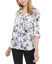 Juniors' Printed Button-Front Shirt