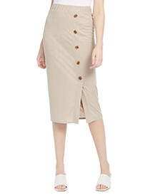 Juniors' Textured-Knit Side-Button Skirt
