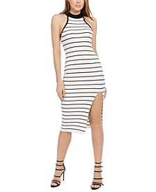 Maia Mock-Neck Striped Dress